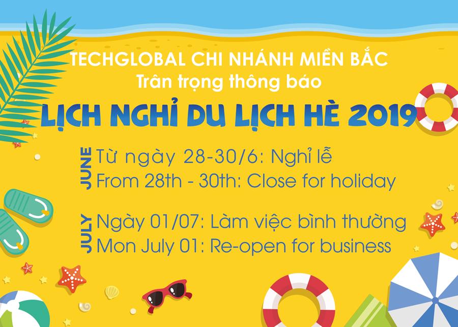 Lịch nghỉ du lịch hè văn phòng miền Bắc của TechGlobal 2019