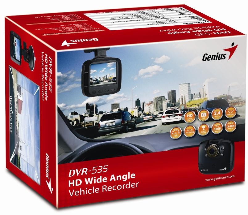 Trọn bộ thiết bị camera hành trình ô tô Genius HD535.