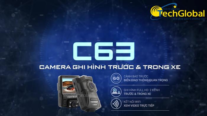 Camera hành trình Vietmap C63 ghi hình trước và trong xe cùng lúc của Techglobal cung cấp