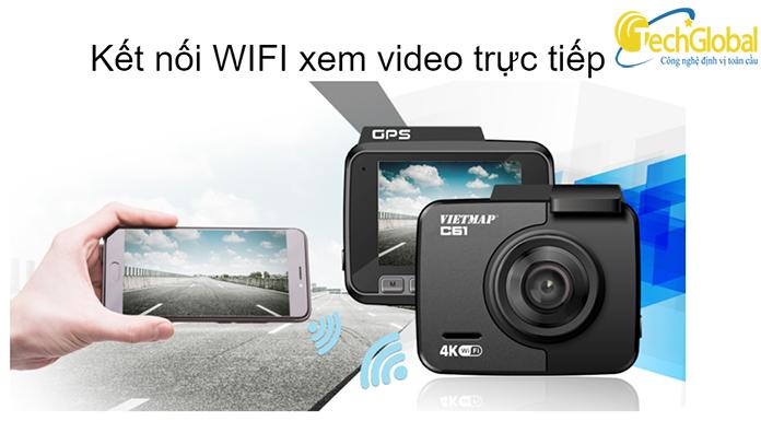 Camera hành trình Vietmap C61 hỗ trợ kết nối Wifi không dây