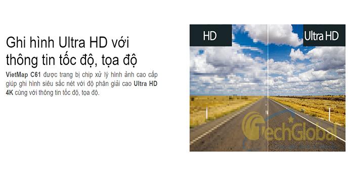 Camera hành trình Vietmap C61 ghi hình Ultra HD